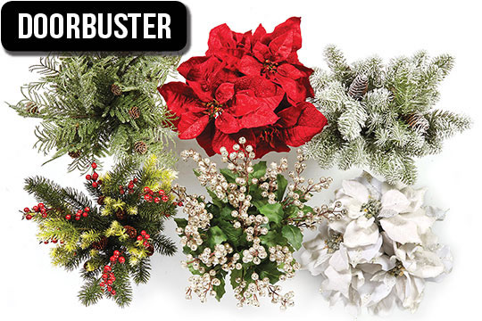Entire Stock. Holiday Floral Bushes, Picks, Ribbon, Bows and Decorative Mesh.