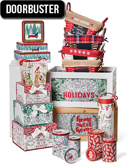 ENTIRE STOCK. Holiday Baskets, Decorative Tins and Storage.