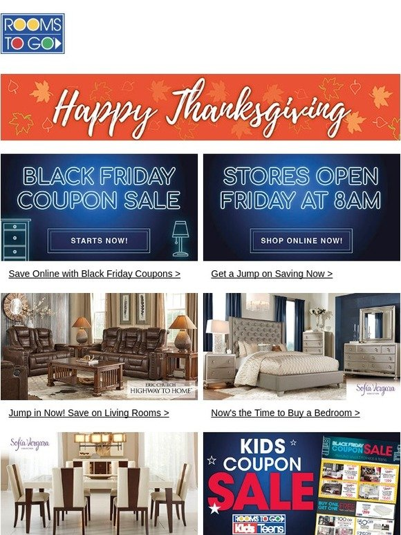 Rooms To Go: Happy Thanksgiving! Shop The Black Friday