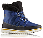 A blue boot with shearling cuff.