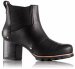 A sleek black ankle boot with heel.