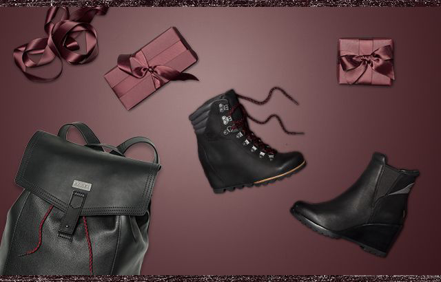 A boot and wrapped gifts against a maroon background.
