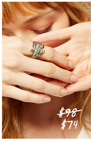Twisted Raw Stones Ring