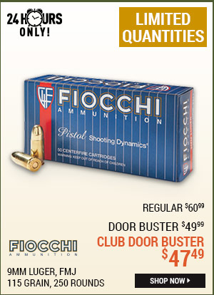 Fiocchi, 9mm Luger, FMJ, 115 Grain, 250 Rounds