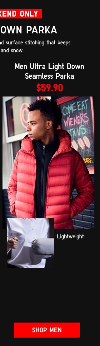 THIS WEEKEND ONLY - MEN SEAMLESS DOWN PARKA $59.90 - Shop Men