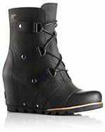 A black wedge boot.