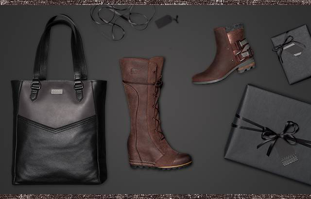 Boots, a handbag, and wrapped gifts against a black background.