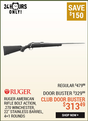 Ruger American Rifle All-Weather, Bolt Action, .270 Winchester, 22 Inch Stainless Barrel, 4+1 Rounds