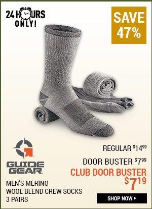 Guide Gear Men's Merino Wool Blend Crew Socks, 3 Pairs