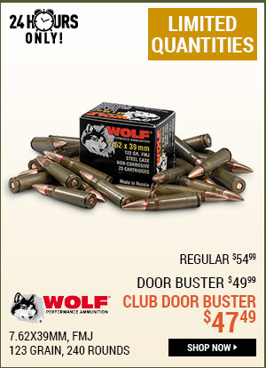 Wolf, 7.62x39mm, FMJ, 123 Grain, 240 Rounds