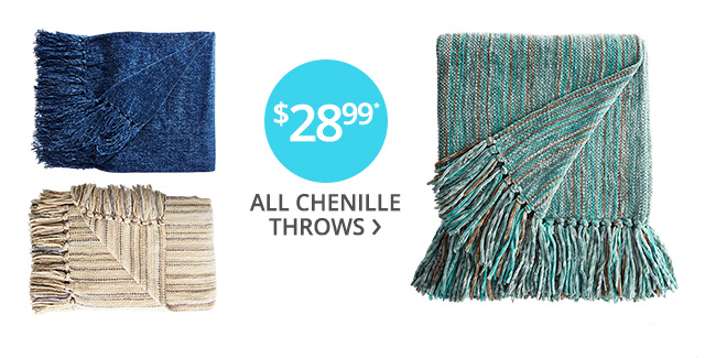 Chenille throws on sale.