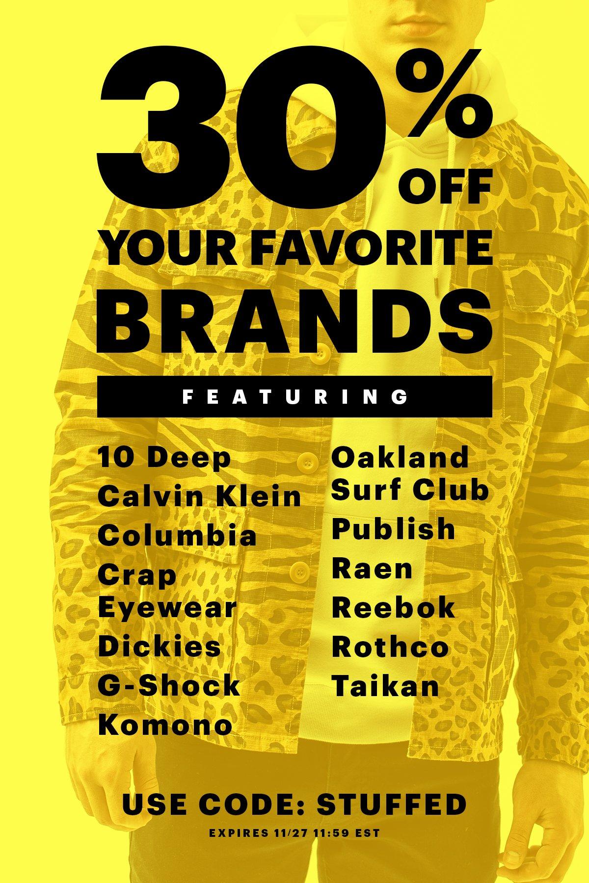 Black Friday: 30% Off Your Favorite Brands