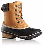 A profile view of waterproof mid-high boots.