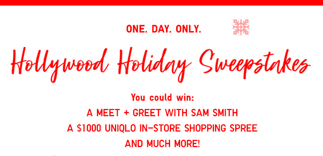 Hollywood Holiday Sweepstakes - Win a meet and greet with SAM SMITH - Enter Now