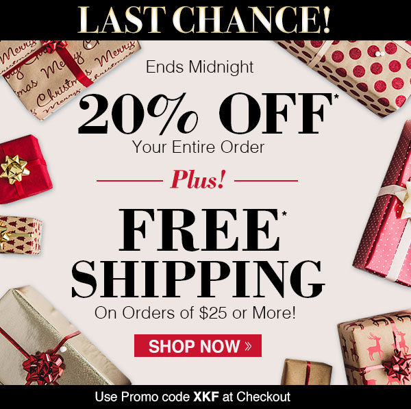 20% OFF + FREE SHIPPING on orders of $25 or more!