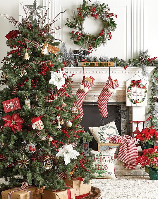 Holiday Decor, Floral and Ribbon.