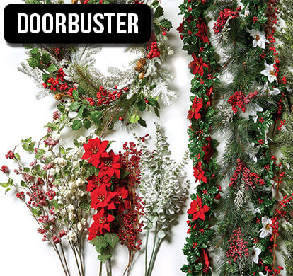 Holiday Garlands, Stems and Wreaths.