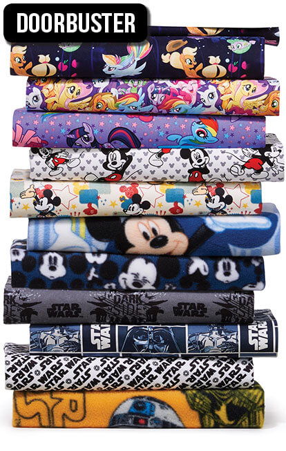 Licensed Character Fabric and No-Sew Throw Kits.