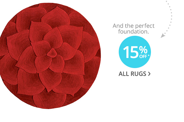 15% off* off all rugs