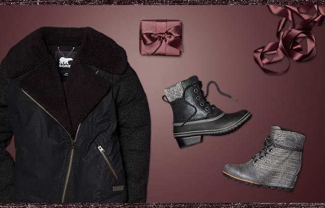 A jacket, boots, and gift boxes against a maroon background.