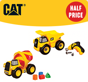 CAT Shape Sorter Cement Mixer & Take Apart Dump Truck 2-Pack