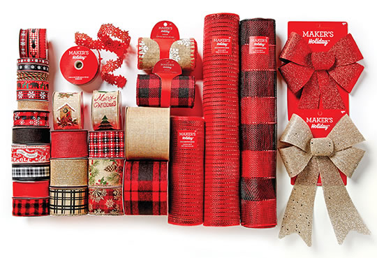 Entire Stock Holiday Ribbon, Bows and Decorative Mesh.