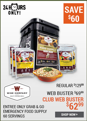 Wise Foods Entree Only Grab & Go Emergency Food Supply, 60 Servings