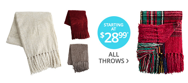 All throws starting at $28.99