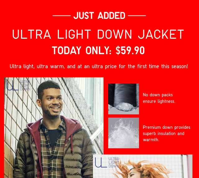 JUST ADDED - ULTRA LIGHT DOWN JACKET - TODAY ONLY $59.90 - Shop Men