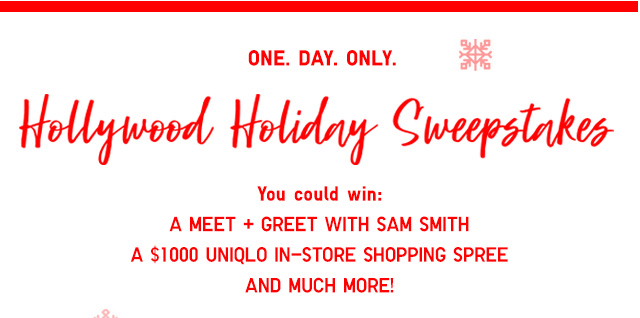 Hollywood Holiday Sweepstakes - Win a meet + greet with SAM SMITH - ENTER NOW!