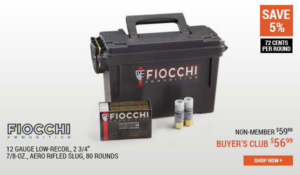 Fiocchi, 12 Gauge Low-recoil, 2 3/4 Inch, 7/8-oz., Aero Rifled Slug, 80 Rounds