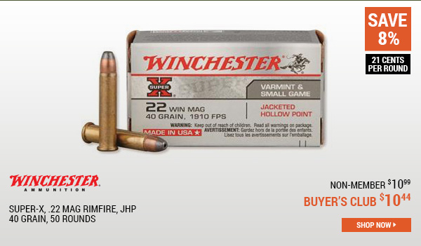 Winchester Super-X, .22 Mag Rimfire, JHP, 40 Grain, 50 Rounds