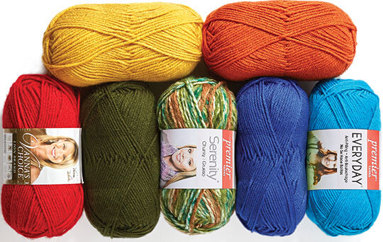 Premier Everyday and Serenity Yarn and Lion Brand Vannas Choice Yarn.