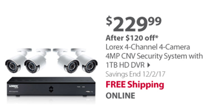 Lorex 4-Channel 4-Camera 4MP CNV Security System with 1TB HD DVR