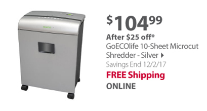 GoECOlife 10-Sheet Microcut Shredder - Silver