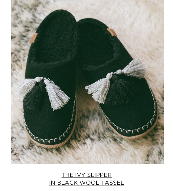 The Ivy Slippers in Black Wool Tassel