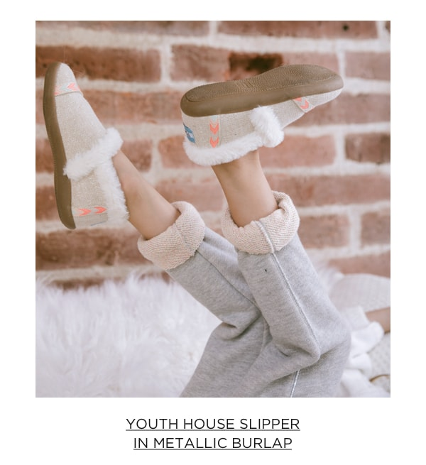 Youth House Slipper in Metallic Burlap