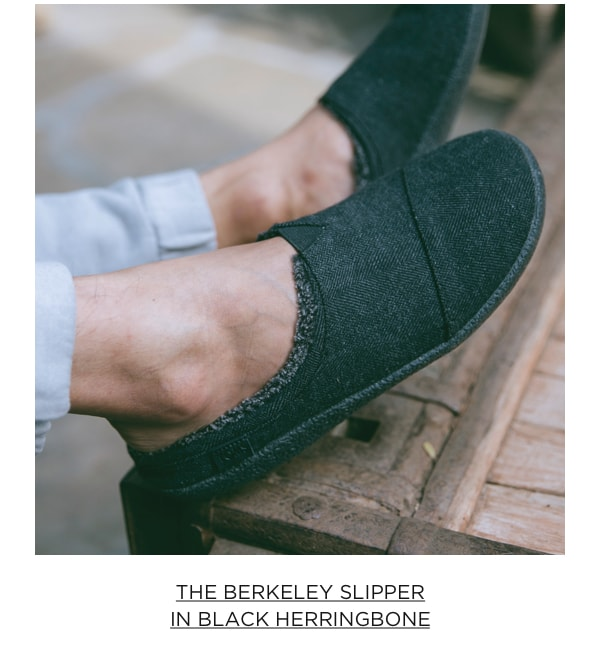 The Berkeley Slipper in Black Herringbone