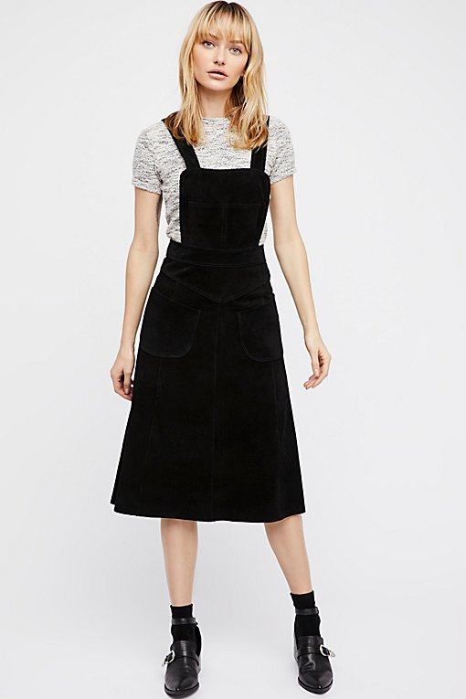 Suede Apron Dress