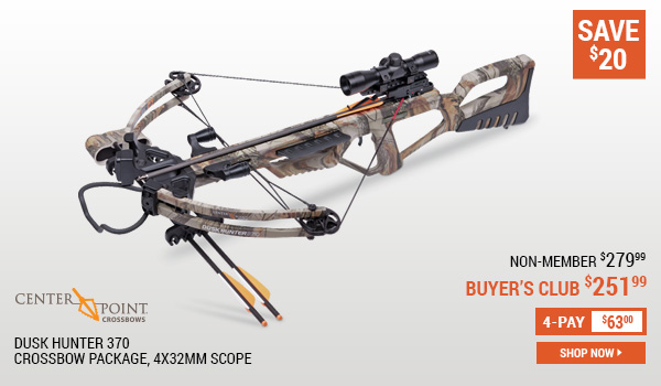Center Point Dusk Hunter 370 Crossbow Package, 4x32mm Scope