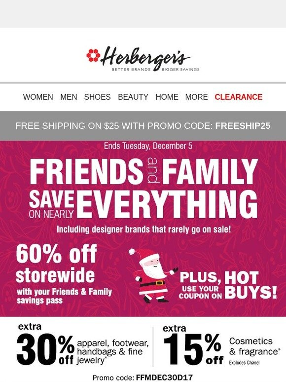 herbergers friends family 30 off coupon save on nearly
