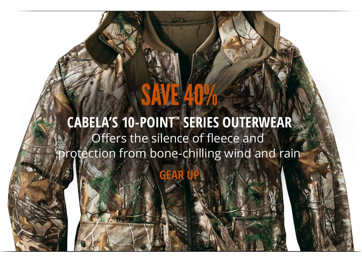 Save 40% on Cabela's 10-Point Outerwear