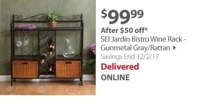SEI Jardin Bistro Wine Rack - Gunmetal Gray/Rattan