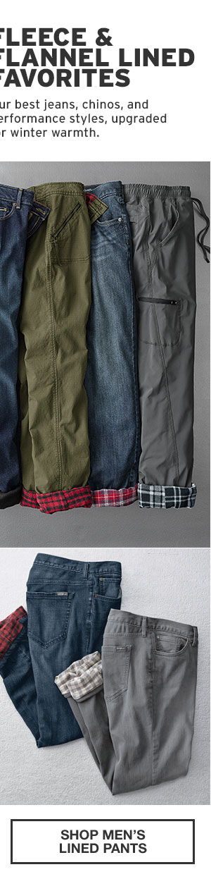50% OFF YOUR PURCHASE | SHOP MEN'S LINED BOTTOMS