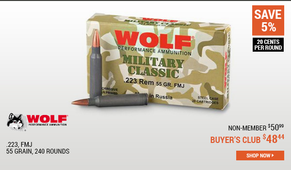 Wolf, .223, FMJ, 55 Grain, 240 Rounds