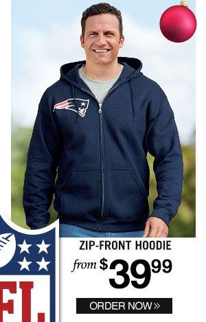 Official NFL Team Logo Zip-Front Fleece Hoodie