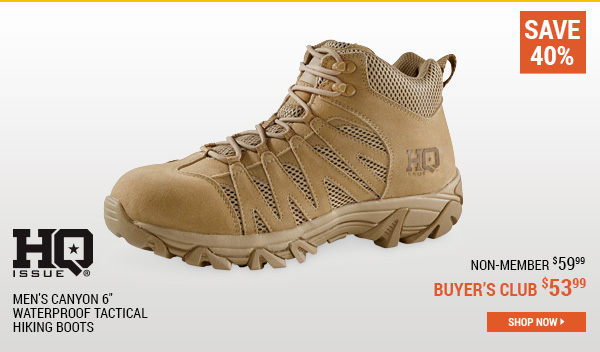 HQ ISSUE Men's Canyon 6 Inch Waterproof Tactical Hiking Boots