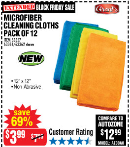 Microfiber Cleaning Cloth 12x12 12 Pk.