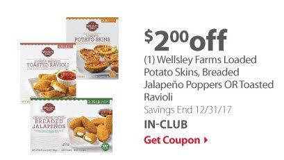 Wellsley Farms Potato Skins, Jalapeno Poppers, or toasted ravioli