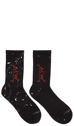 A-Cold-Wall* - SSENSE Exclusive Black & Red Logo Socks